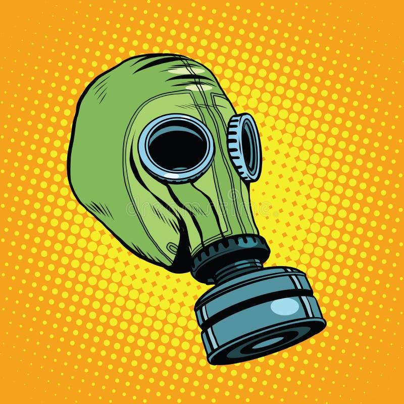 防毒面具,葡萄酒橡胶绿色,减速火箭的背景 库存例证