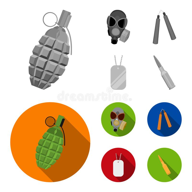 防毒面具, nunchak,弹药,战士象征 武器在单色,平的样式传染媒介标志库存设置了汇集象 皇族释放例证