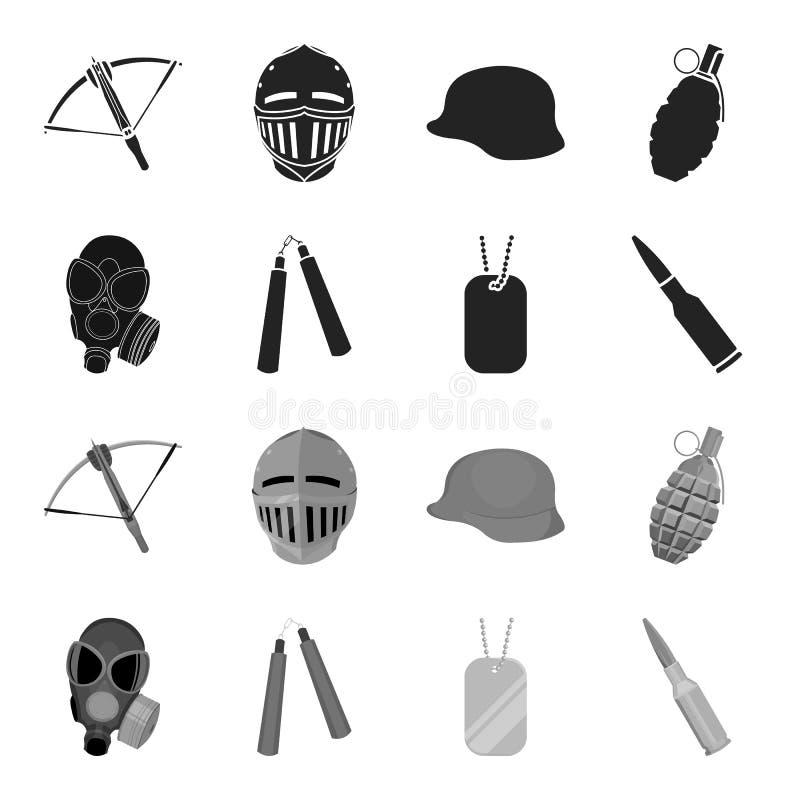 防毒面具, nunchak,弹药,战士象征 武器在黑,单色样式传染媒介标志库存设置了汇集象 皇族释放例证