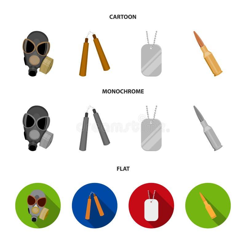 防毒面具, nunchak,弹药,战士象征 武器设置了在动画片,平,单色样式传染媒介的汇集象 皇族释放例证