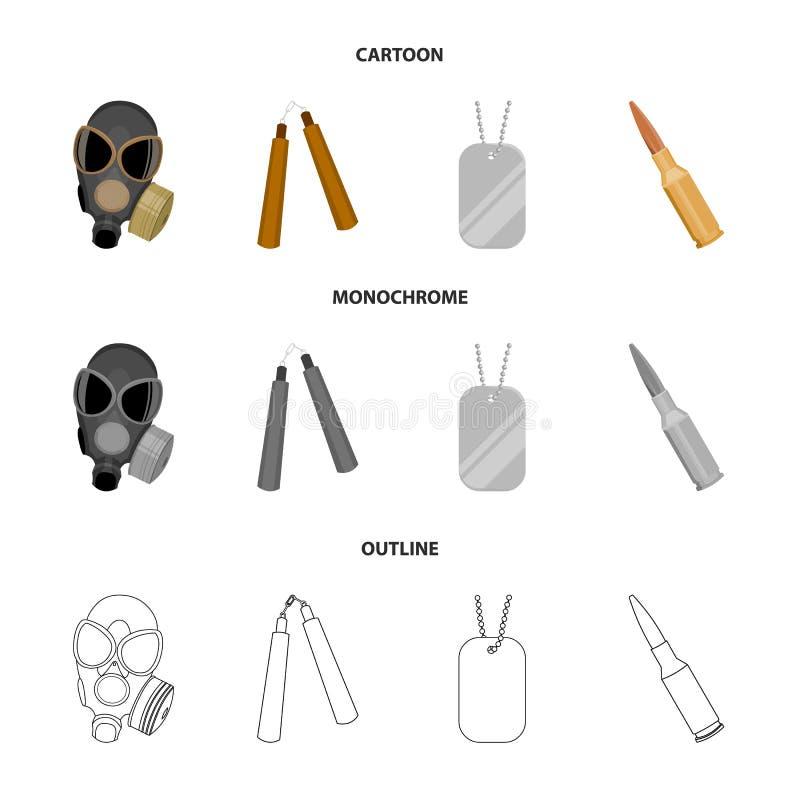 防毒面具, nunchak,弹药,战士象征 武器设置了在动画片,概述,单色样式传染媒介的汇集象 向量例证