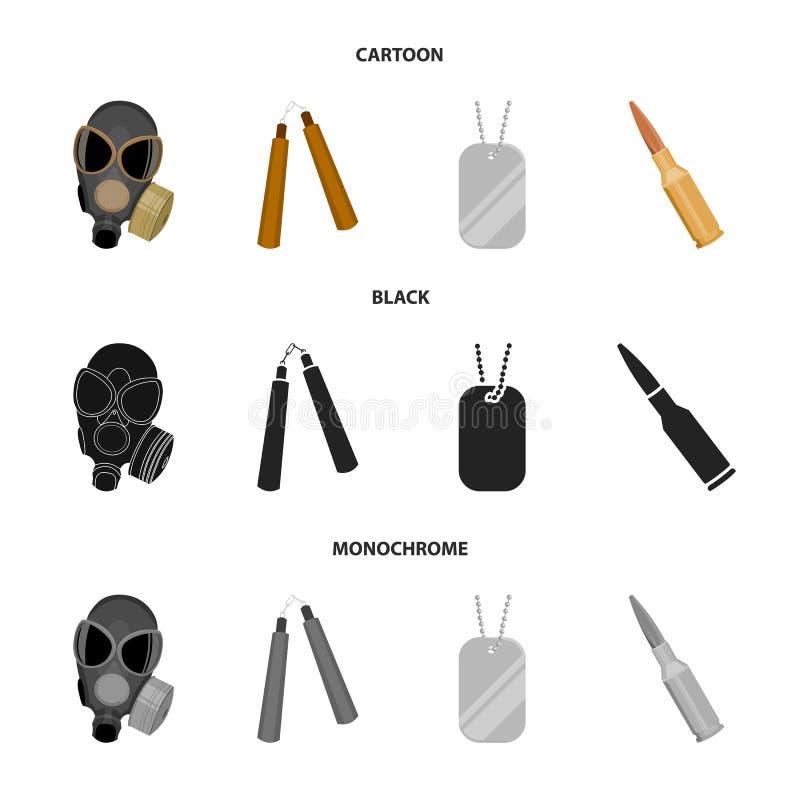 防毒面具, nunchak,弹药,战士象征 武器设置了在动画片,黑色,单色样式传染媒介的汇集象 向量例证