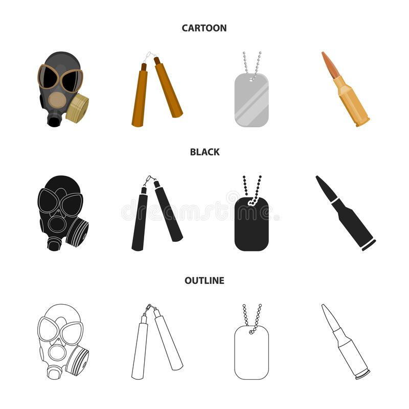 防毒面具, nunchak,弹药,战士象征 武器设置了在动画片,黑色,概述样式传染媒介标志的汇集象 皇族释放例证