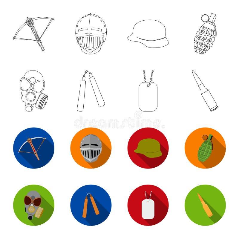防毒面具, nunchak,弹药,战士象征 武器设置了在概述,平的样式传染媒介标志股票的汇集象 库存例证