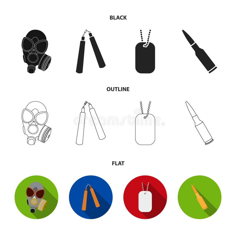 防毒面具, nunchak,弹药,战士象征 武器设置了在黑的汇集象,平,概述样式传染媒介标志 皇族释放例证