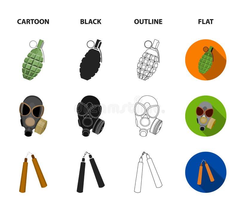 防毒面具, nunchak,弹药,战士象征 武器设置了在动画片,黑色,概述,平的样式传染媒介的汇集象 皇族释放例证