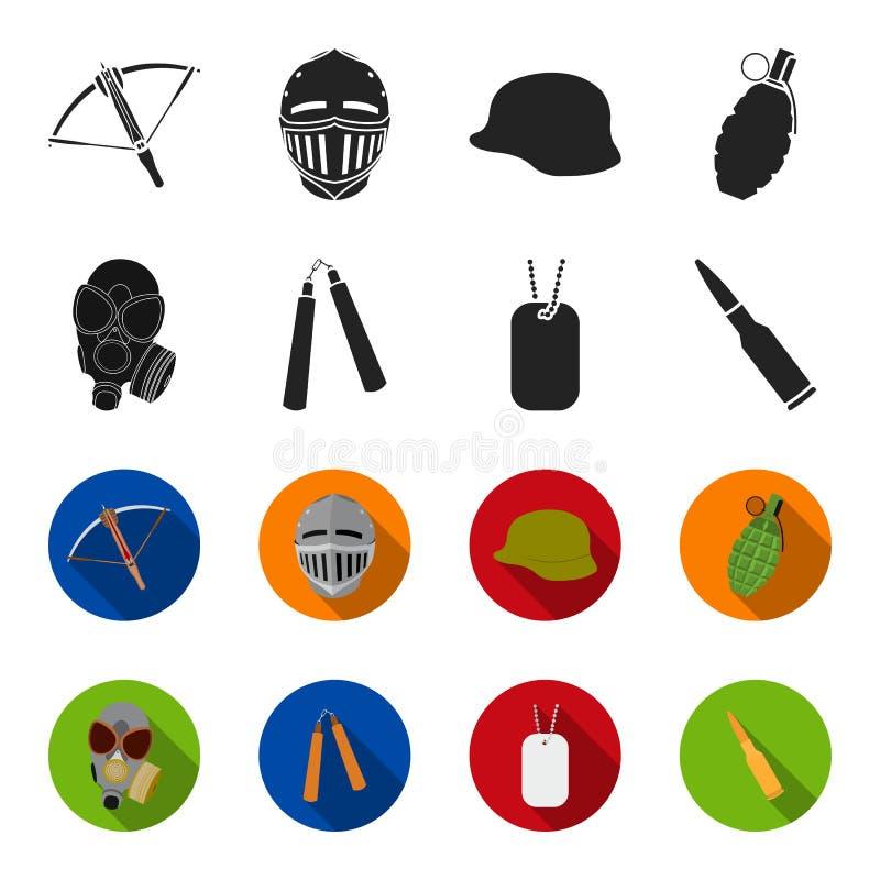 防毒面具, nunchak,弹药,战士` s象征 武器设置了在黑色的汇集象, flet样式传染媒介标志股票 库存例证