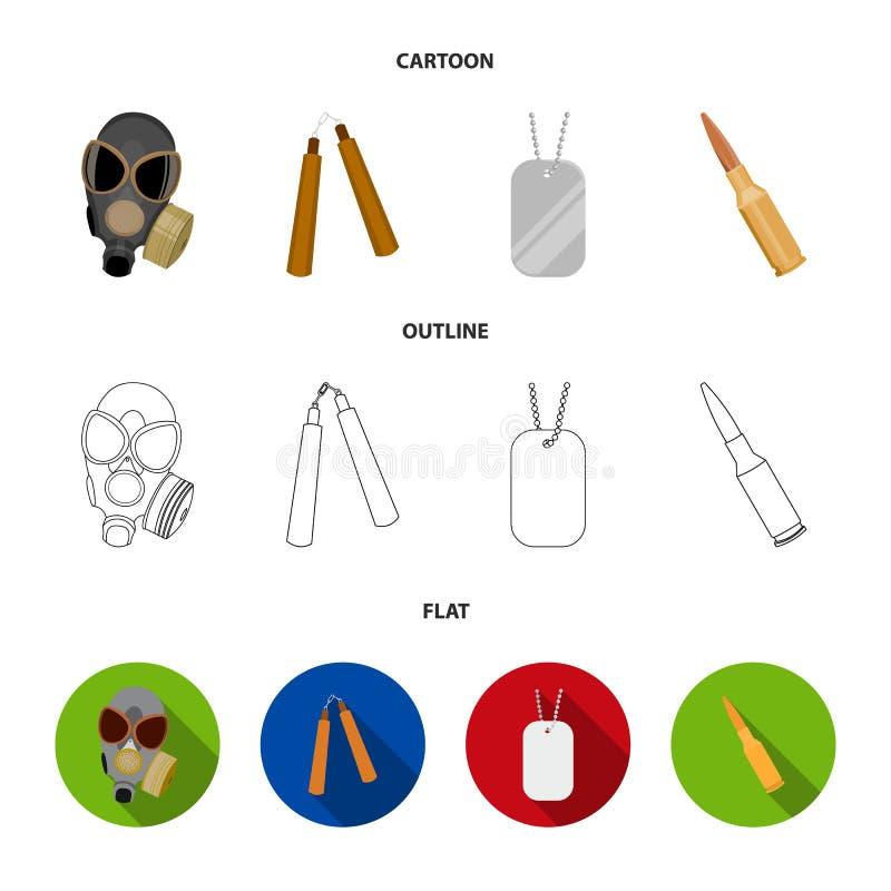 防毒面具, nunchak,弹药,战士` s象征 武器设置了在动画片,概述,平的样式传染媒介标志的汇集象 向量例证
