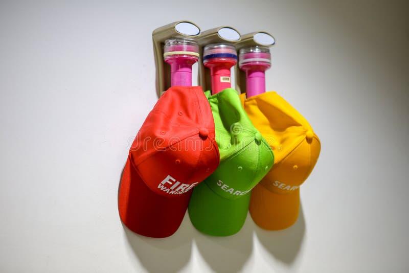 防火区仪器是三个手电和三个盖帽 免版税库存图片