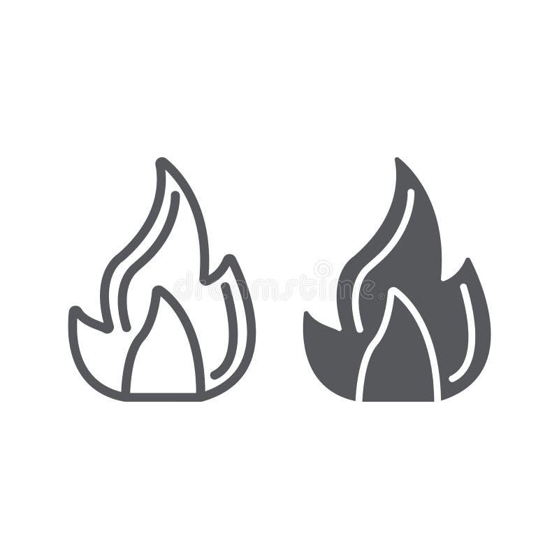 防火线和纵的沟纹象、营火和火焰,篝火标志,向量图形,在白色背景的一个线性样式 库存例证