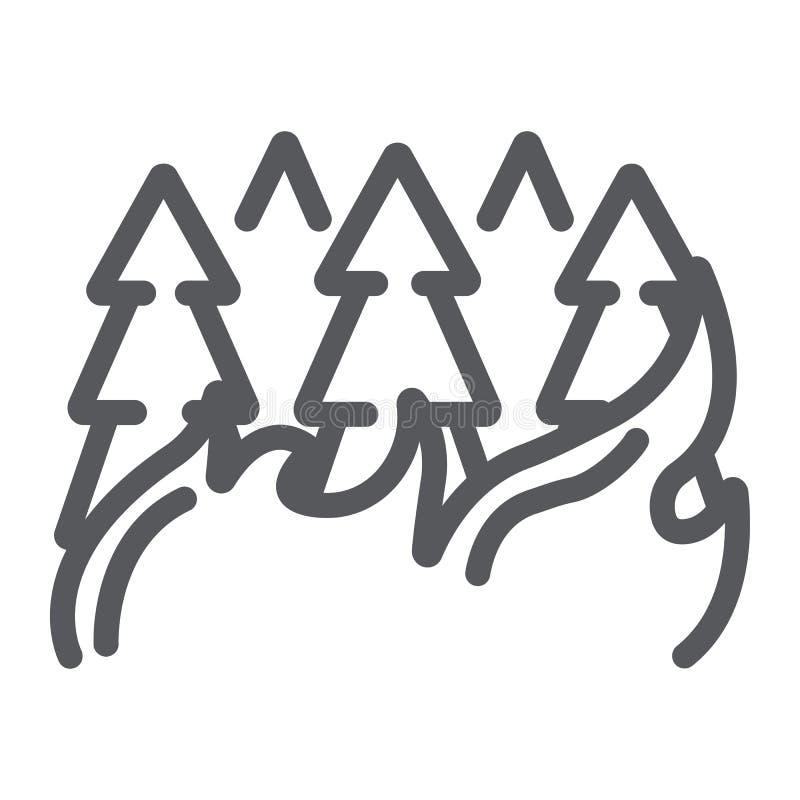 防火线的象、烧伤和灾害森林,灼烧的树签署,向量图形,在白色背景的一个线性样式 皇族释放例证