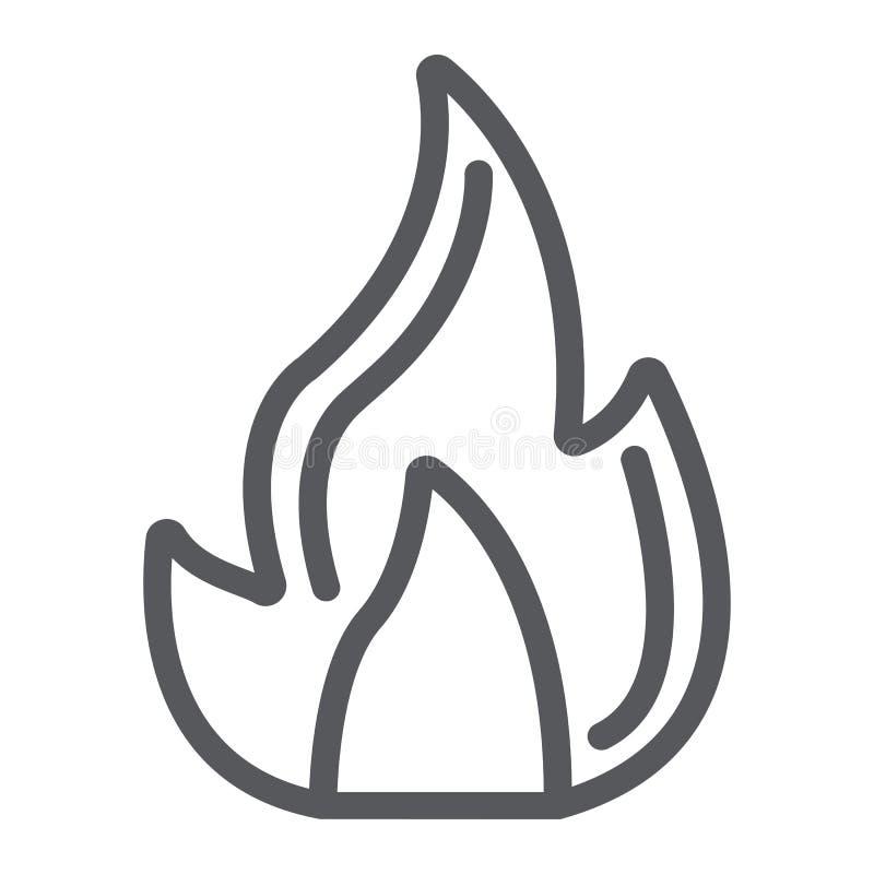 防火线象,营火和火焰,篝火标志,向量图形,在白色背景的一个线性样式 向量例证