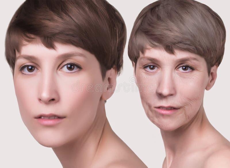 防皱,秀丽治疗、老化和青年时期,举,skincare,整容概念 图库摄影