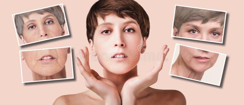 防皱,秀丽治疗、老化和青年时期,举,skincare,整容概念 免版税库存图片