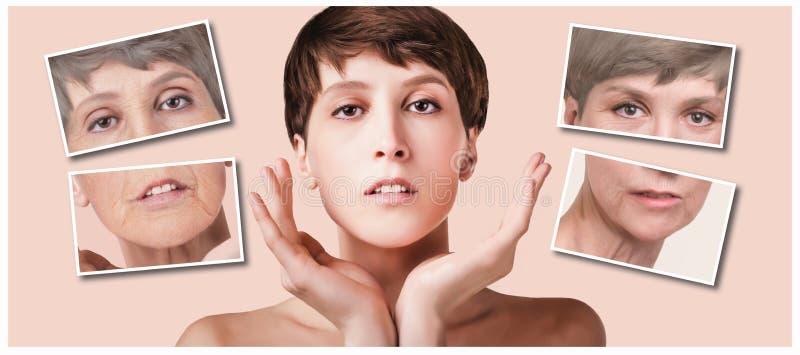 防皱,秀丽治疗、老化和青年时期,举,skincare,整容概念 库存图片
