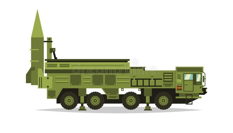 防空导弹系统 火箭队和壳 大卡车 特别军用设备 空袭 所有地形车,重 皇族释放例证