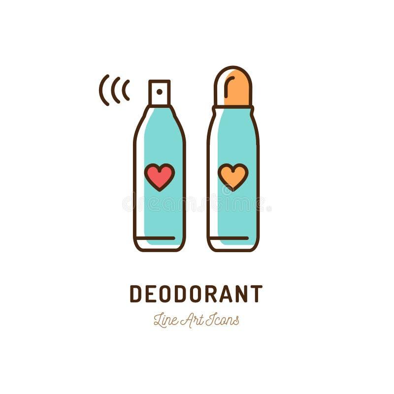 防臭剂象、汗水补救、香水或者喷发剂 稀薄的线艺术五颜六色的设计,导航平的例证 库存例证