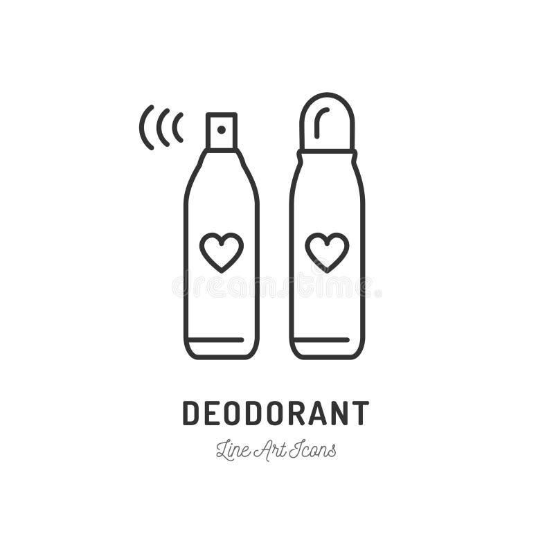 防臭剂象、汗水补救,香水或喷发剂象 稀薄的线艺术设计,传染媒介例证 皇族释放例证