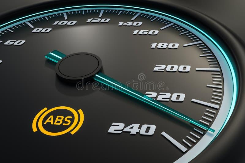 防锁死刹车在汽车仪表板的系统光 向量例证