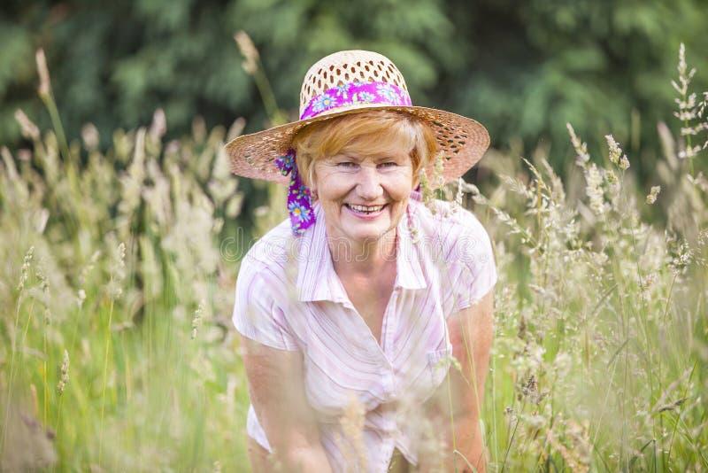 阳。草甸微笑的愉快的资深农民妇女。帽子的成熟友好的夫人 库存图片