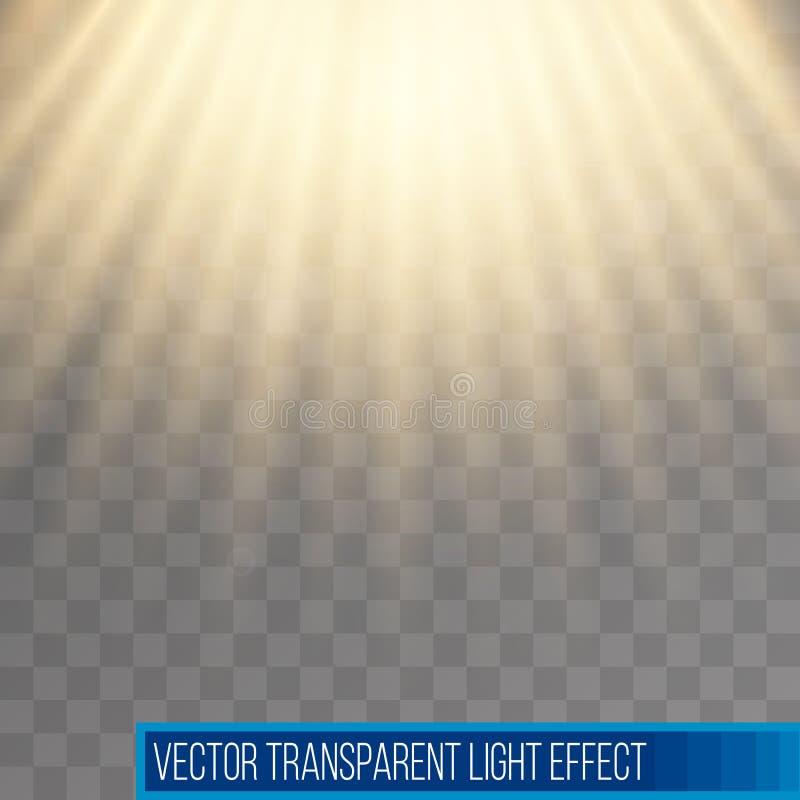 阳光光芒 黄色太阳光芒 温暖的橙色火光 与透明度的怒视的作用 摘要发光的轻的背景 向量例证
