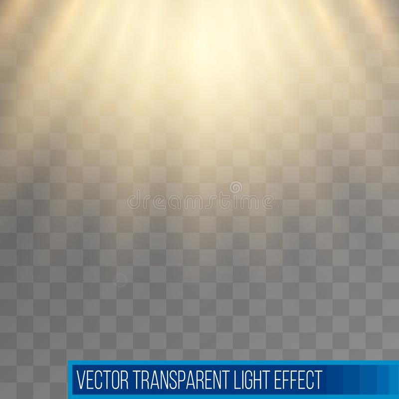 阳光光芒 黄色太阳光芒 温暖的橙色火光 与透明度的怒视的作用 摘要发光的轻的背景 库存例证