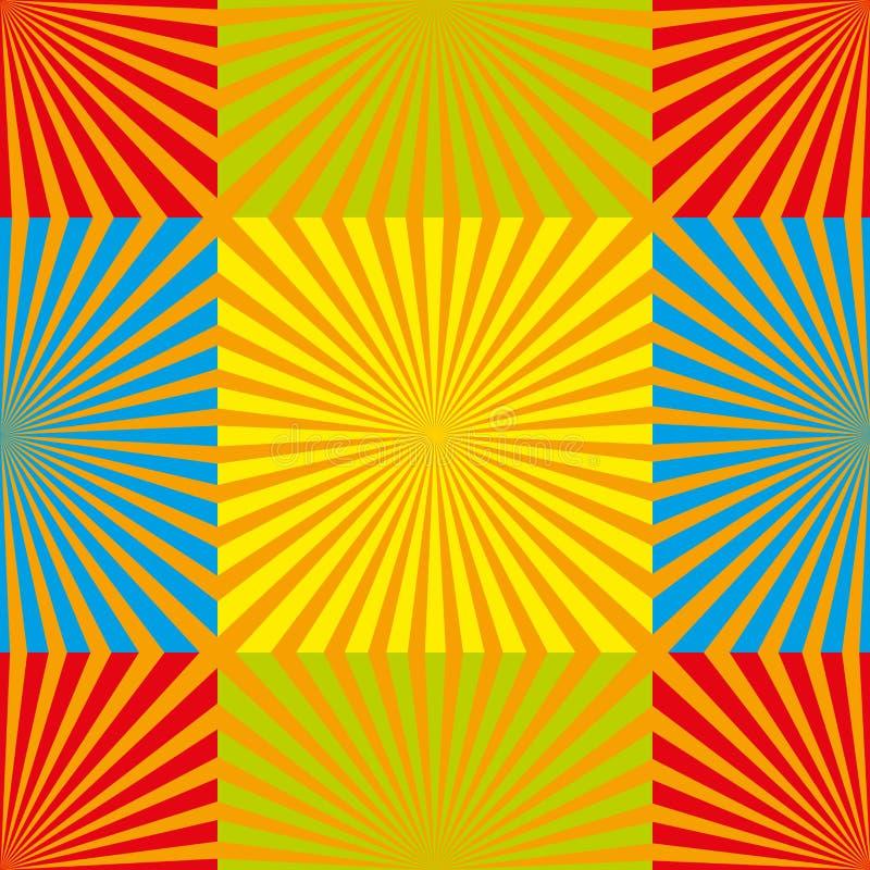 阳光无缝的样式 向量背景 在白色背景的黄色光芒 背景装饰图象风格化漩涡向量挥动 库存例证