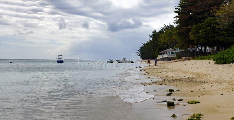 阳光明媚的一天里,人们在毛里求斯印度洋边缘的Flic en Flac公共海滩上散步,那里种着热带树 免版税库存照片