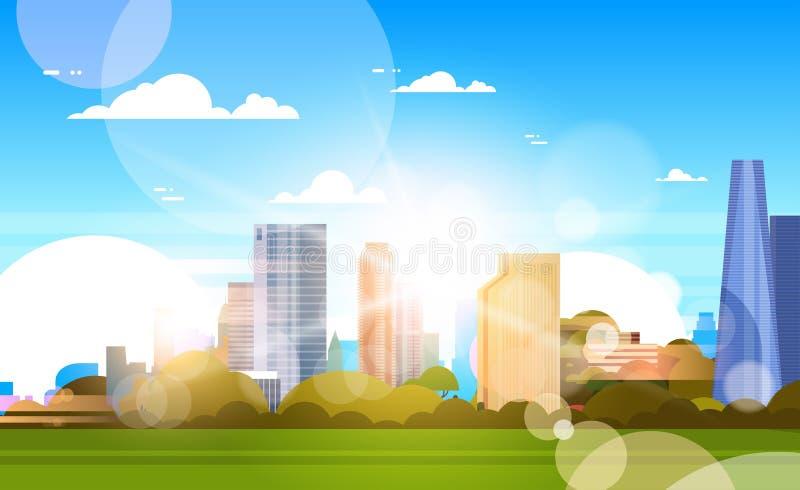 阳光美好的地平线的城市与在摩天大楼大厦都市风景概念的阳光 向量例证