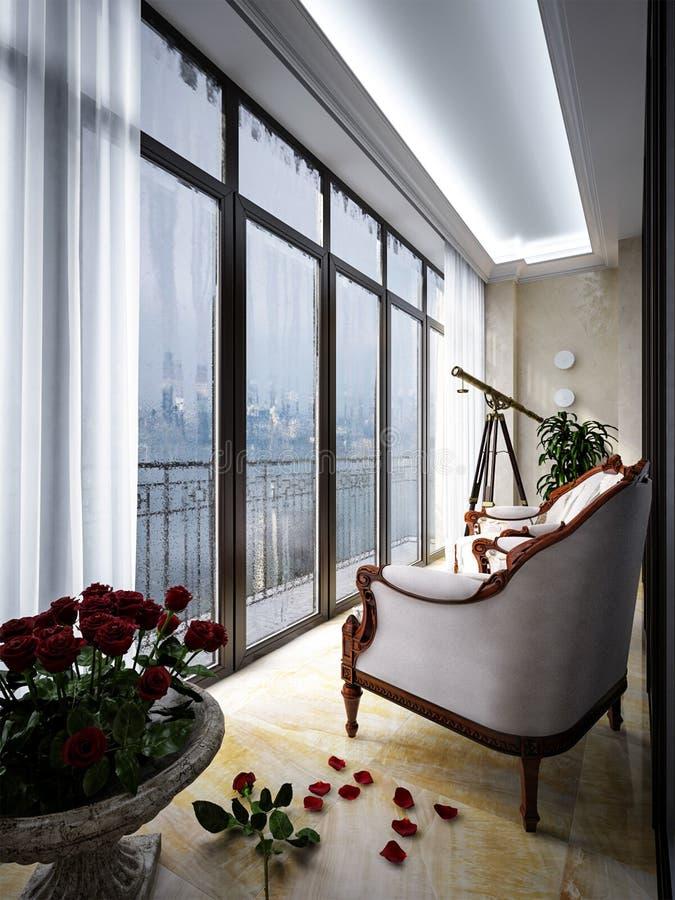 阳台内部有扶手椅子和小桌的 向量例证