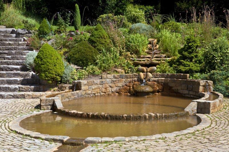 阳茎端膜水池在酒杯井庭院里 免版税图库摄影
