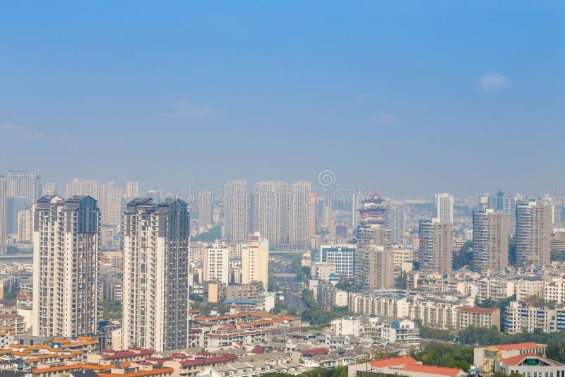 绵阳,瓷,城市全景 免版税库存图片