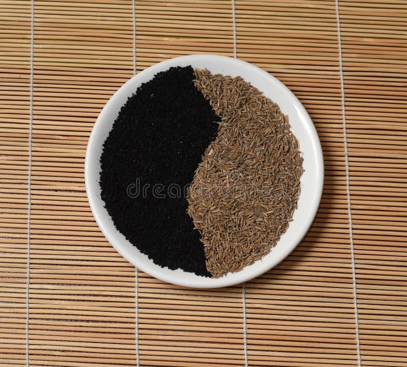 阴山杨黄色种子黑小茴香白色板材竹席子 免版税库存照片