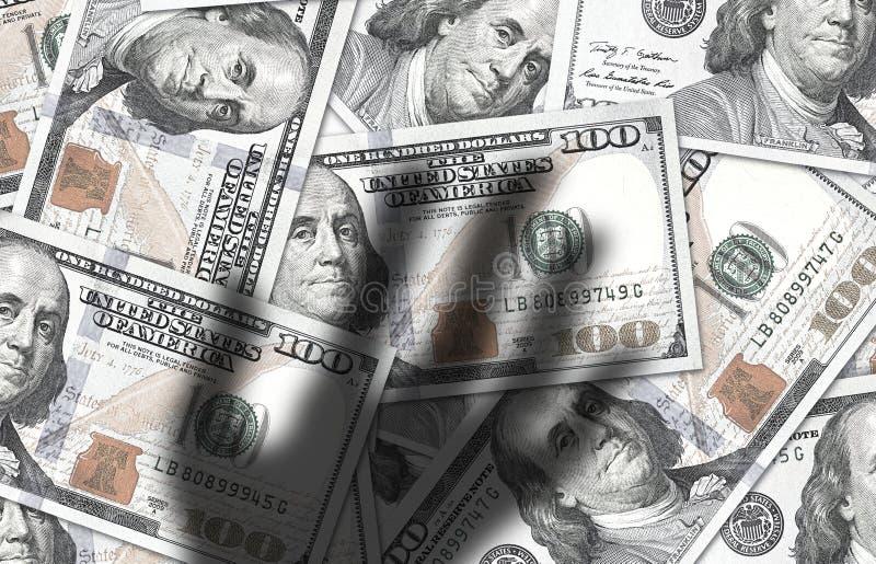 阴影手劫掠的现金金钱 美元仓促汇兑的概念 图库摄影