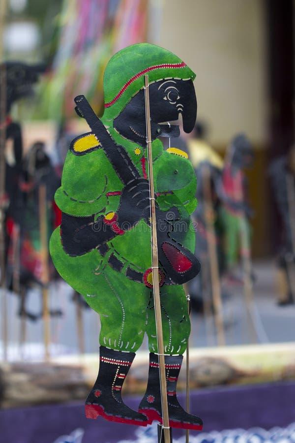 阴影木偶设置了泰国:Nang Talung是公众en的一个形式 免版税库存照片
