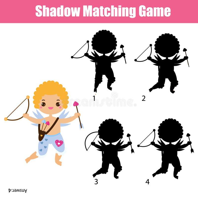 阴影相配的比赛 逗人喜爱的丘比特 开玩笑活动 情人节题材小孩的乐趣页 皇族释放例证