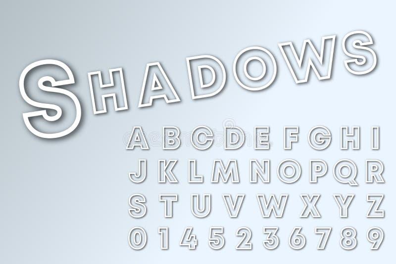 阴影线字母表字体模板 线遮蔽信件和数字 库存例证