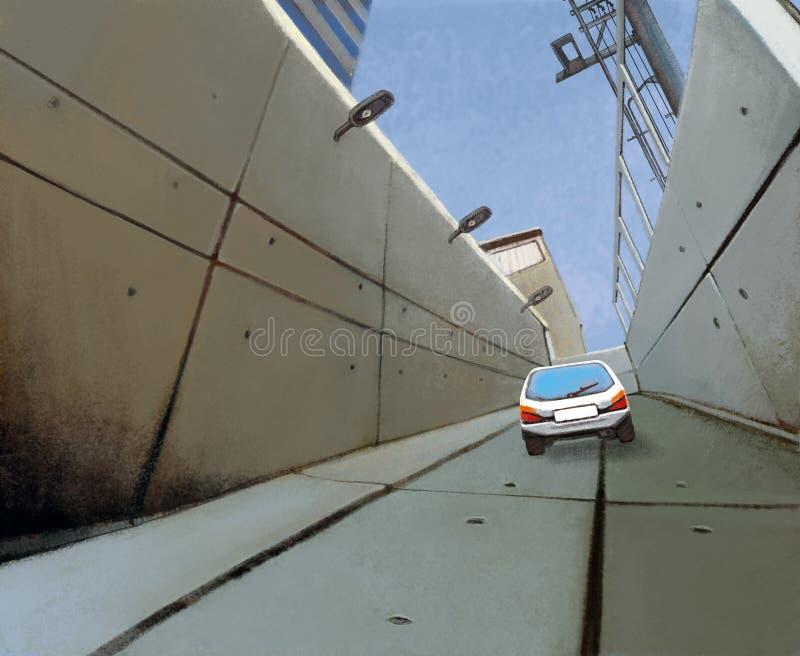 阴沉的具体隧道和汽车 向量例证