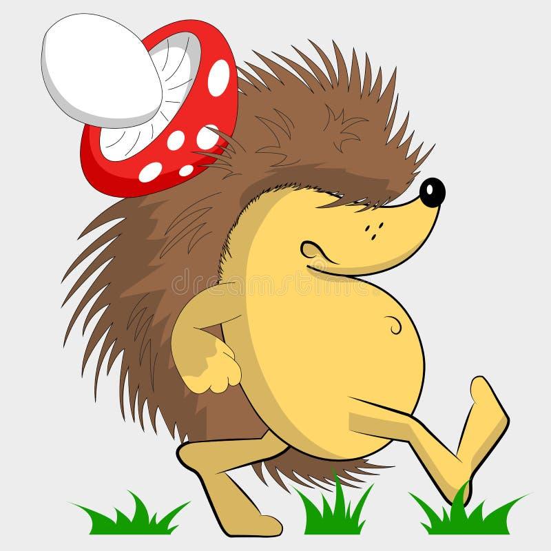 阴沉的猬 猬用在他的一个蘑菇  卡通人物 向量例证