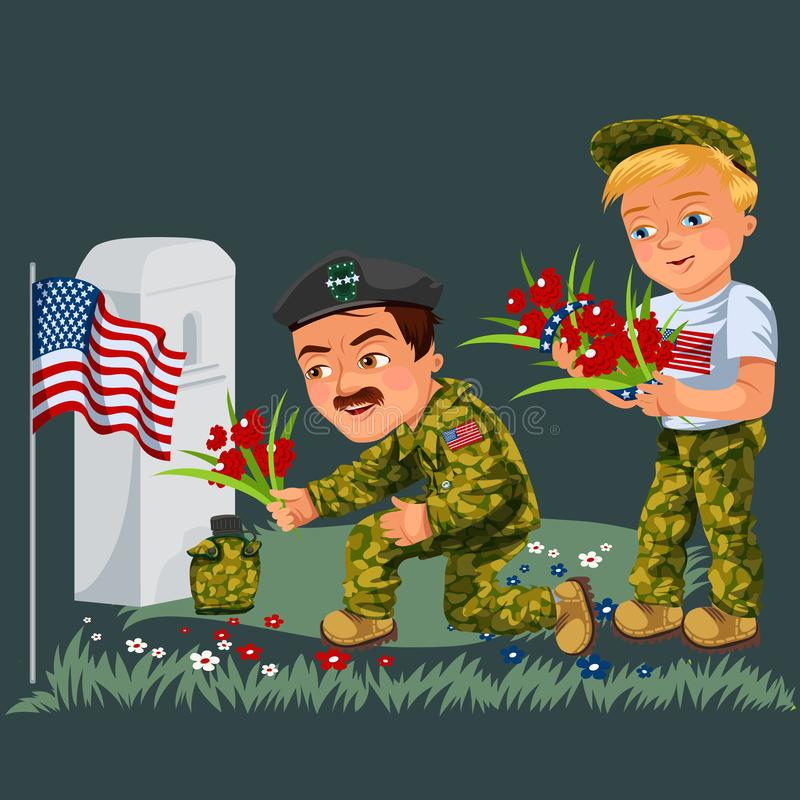 阵亡将士纪念日背景,美国退伍军人放花对纪念碑白色墓碑与我们的旗子,制服的战士 向量例证