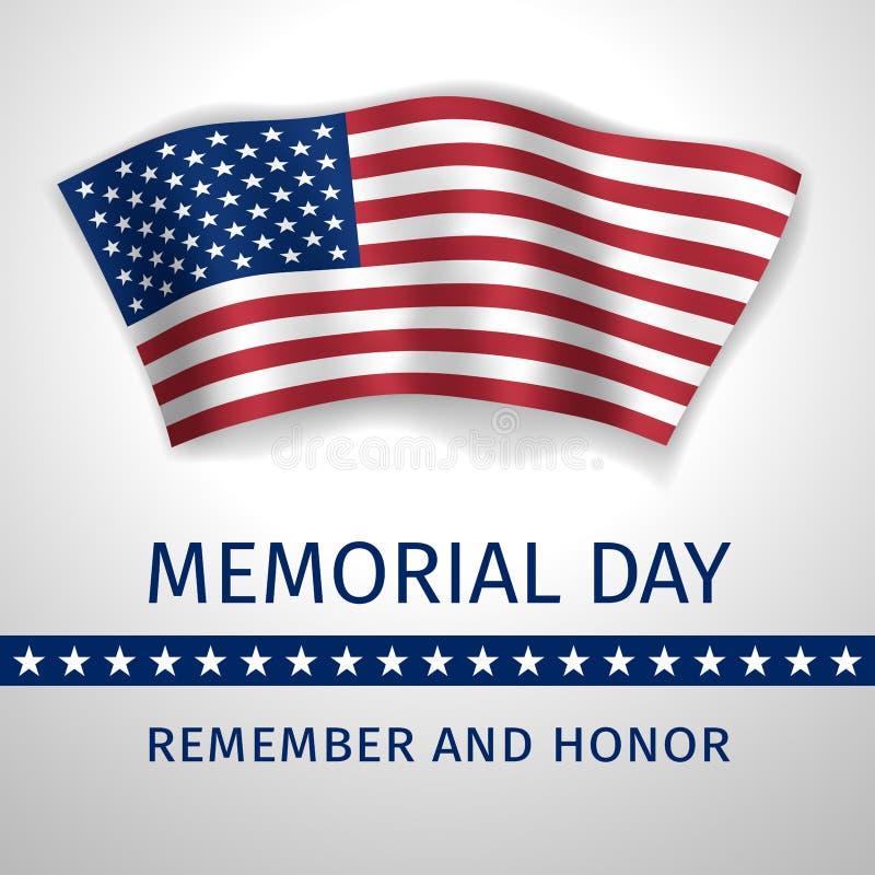 阵亡将士纪念日,记住并且尊敬-与U的旗子的海报 皇族释放例证