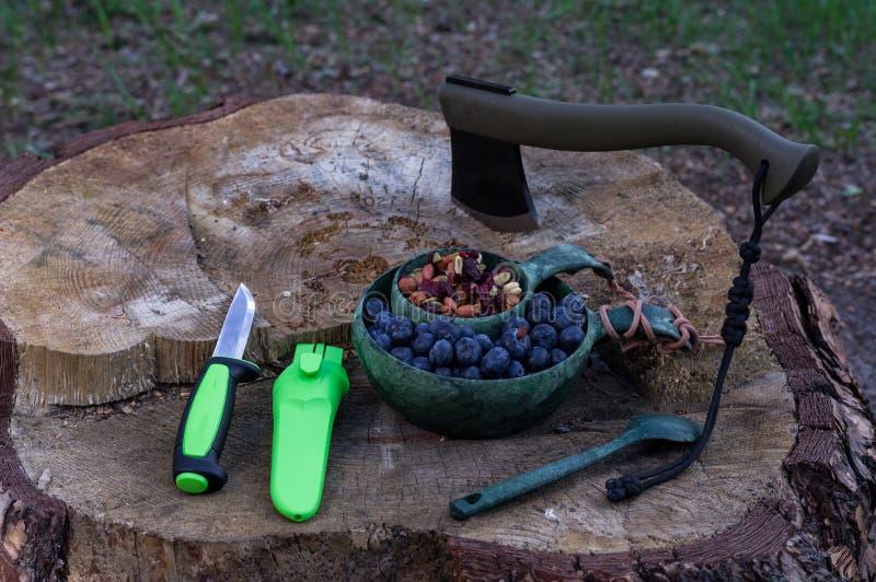阵营刀子和轴 野营的器物和工具 免版税库存照片