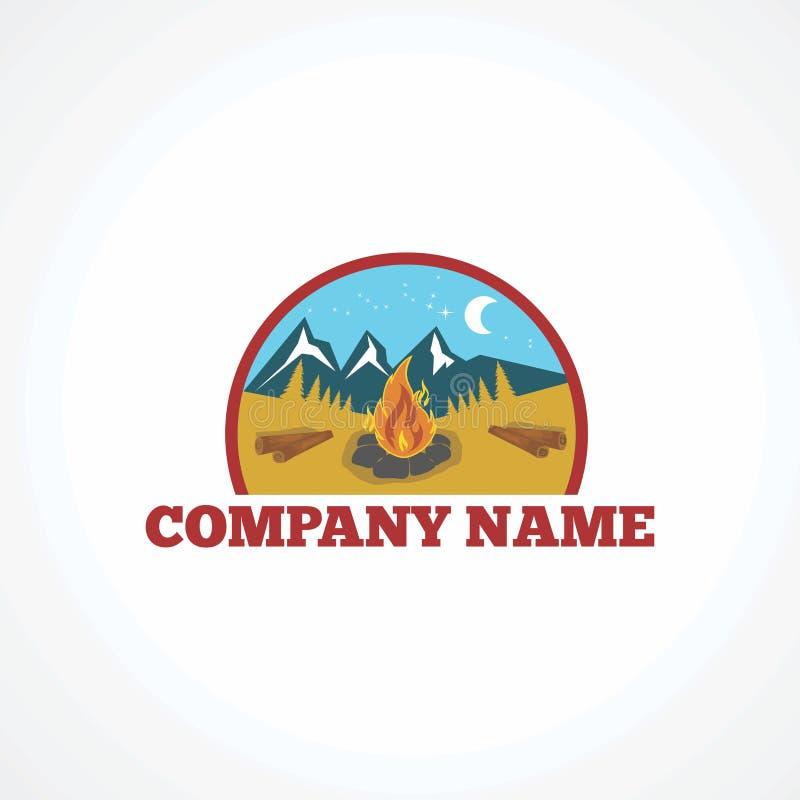 阵营商标传染媒介、象、元素和模板 库存例证