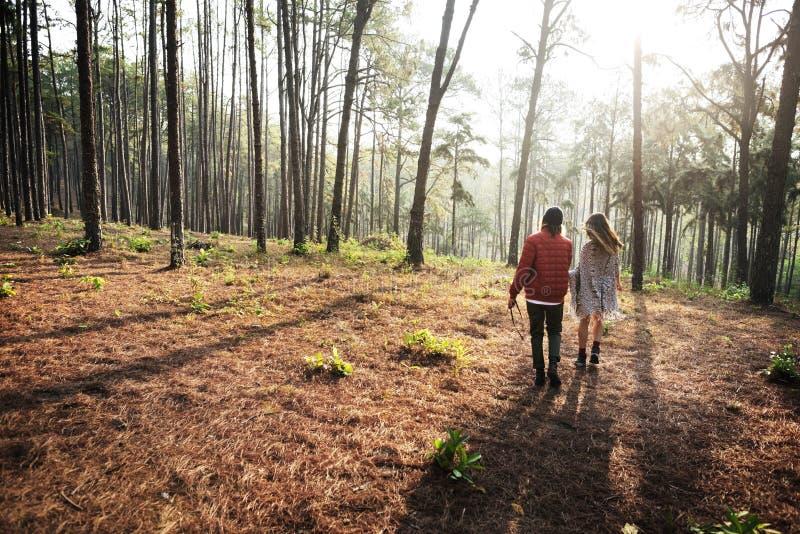 阵营森林冒险旅行放松概念 免版税图库摄影