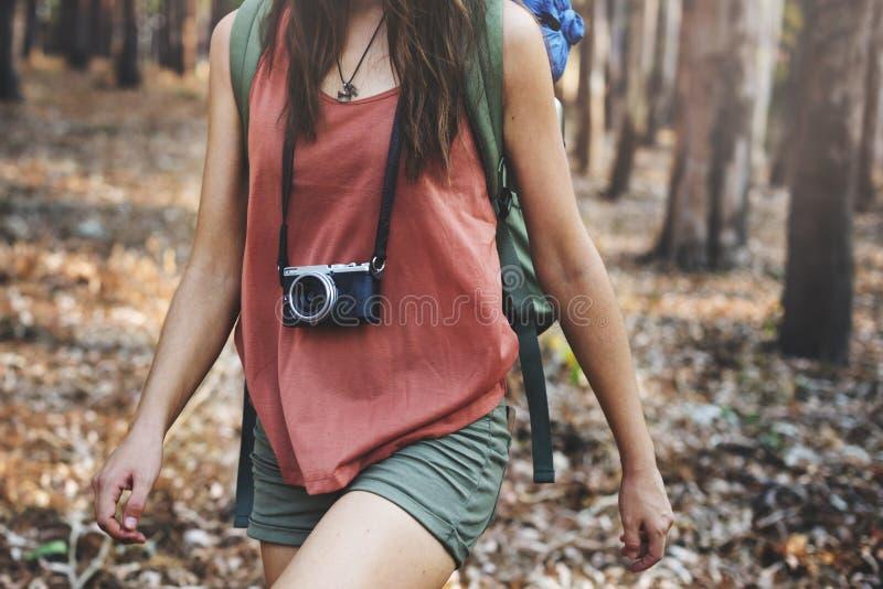 阵营森林冒险旅行遥控放松概念 免版税库存图片