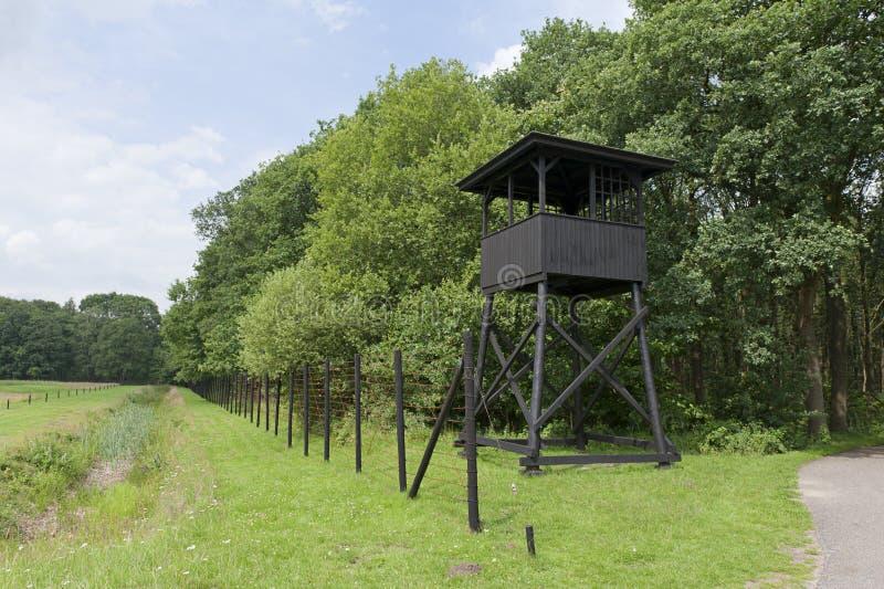 阵营浓度前面的城楼westerbork 免版税库存照片