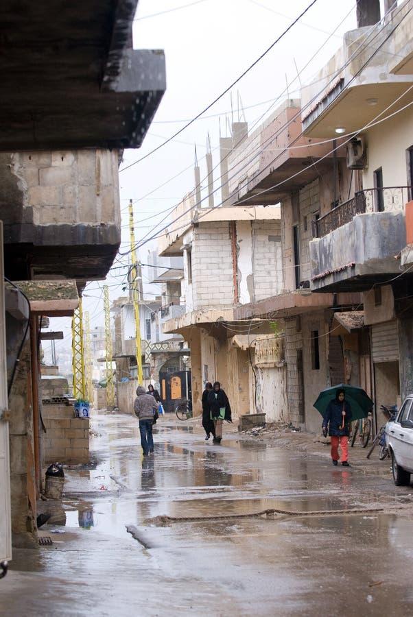 阵营难民街道 免版税库存图片