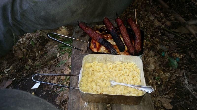 阵营食物 库存图片