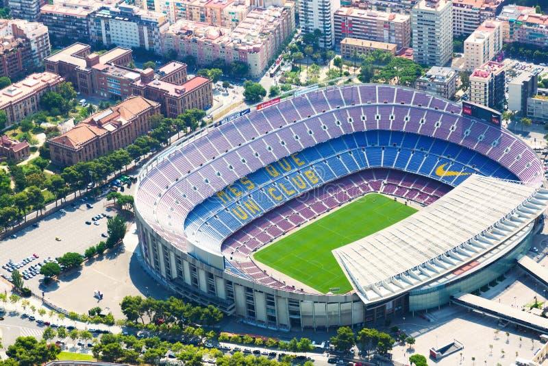 阵营Nou -巴塞罗那足球俱乐部体育场鸟瞰图  免版税库存图片