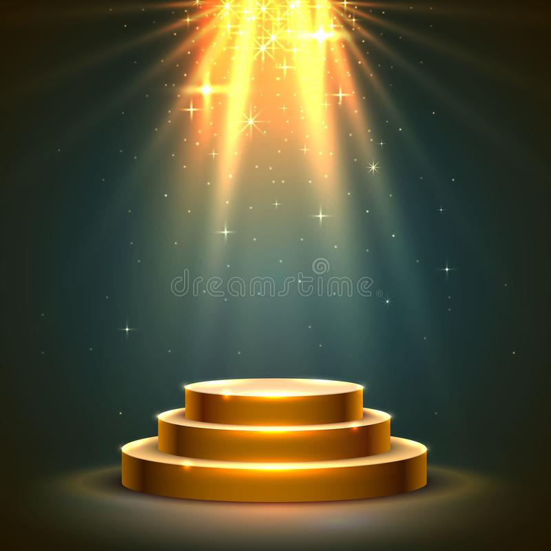 阶段与颁奖仪式的指挥台场面 向量例证